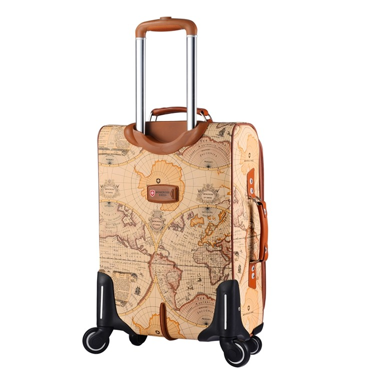 Wholesale retro pu leather world map travel luggage cases bags on wholesale retro pu leather world map travel luggage cases bags on universal wheels gumiabroncs Image collections