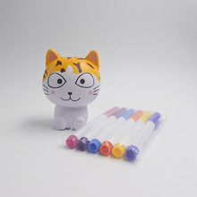 Yiwu Factory New DIY Squishy Cat Toy & Paint Markers Children Drawing Kit
