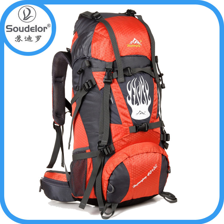 Orange Travel Backpacks Lightweight Travelling Backpacks With cover