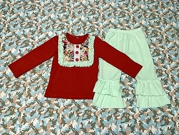 70a9c780259c Hot Sale Merry Christmas Baby Girl 2 pieces Ruffle Pants Set For Cute Girl  clothing Santa