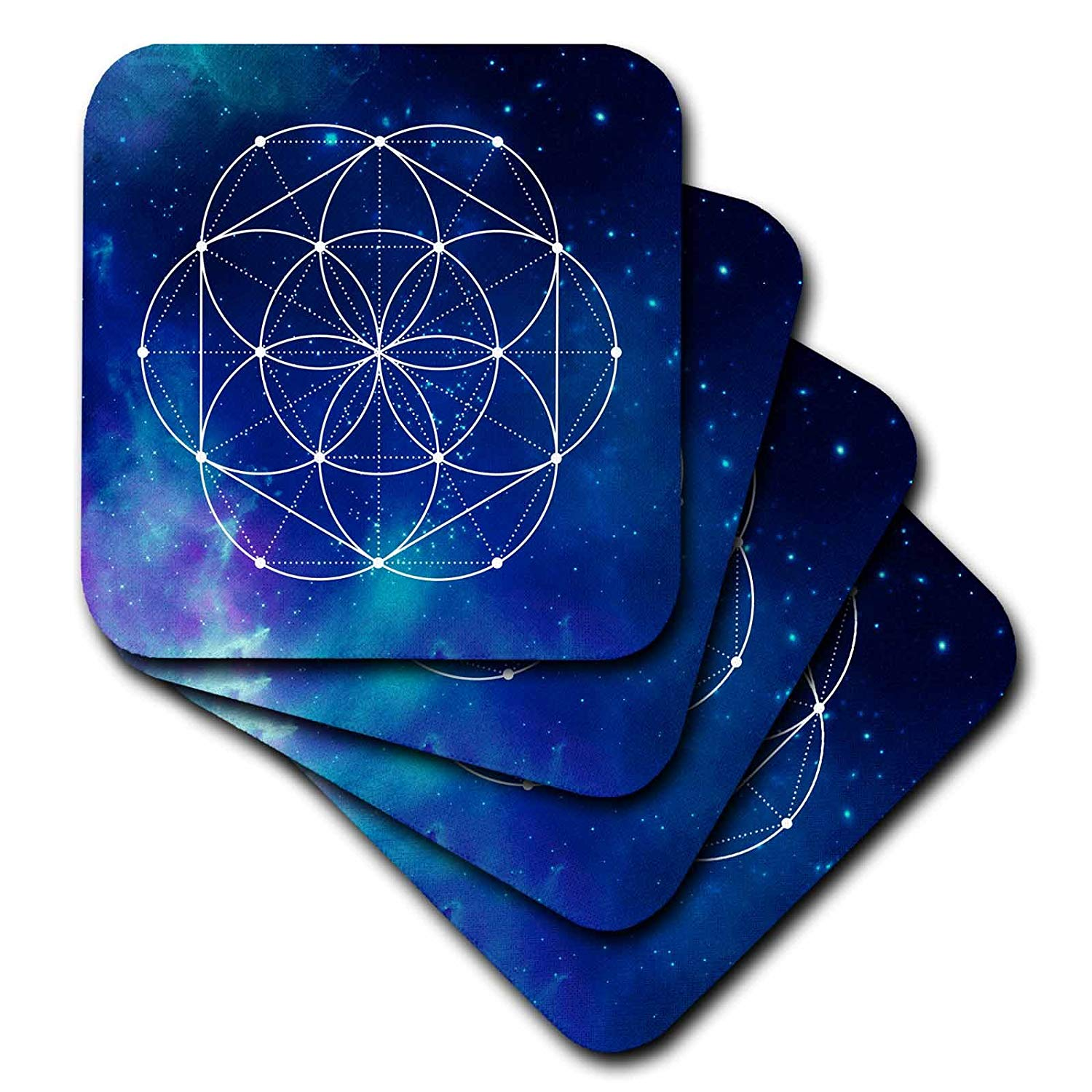3D Rose Sacred Circles Flower Geometry On A Brilliant Blue Galaxy Background Soft Coasters, Multicolor