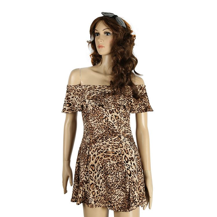 Factory Directly Sale Custom Printed Leopard Sexy Party Long Dress