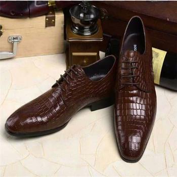 26d6a2f8 Lujo clásico marca de calidad superior italiano puro piel de cocodrilo  Zapatos de vestir para hombre