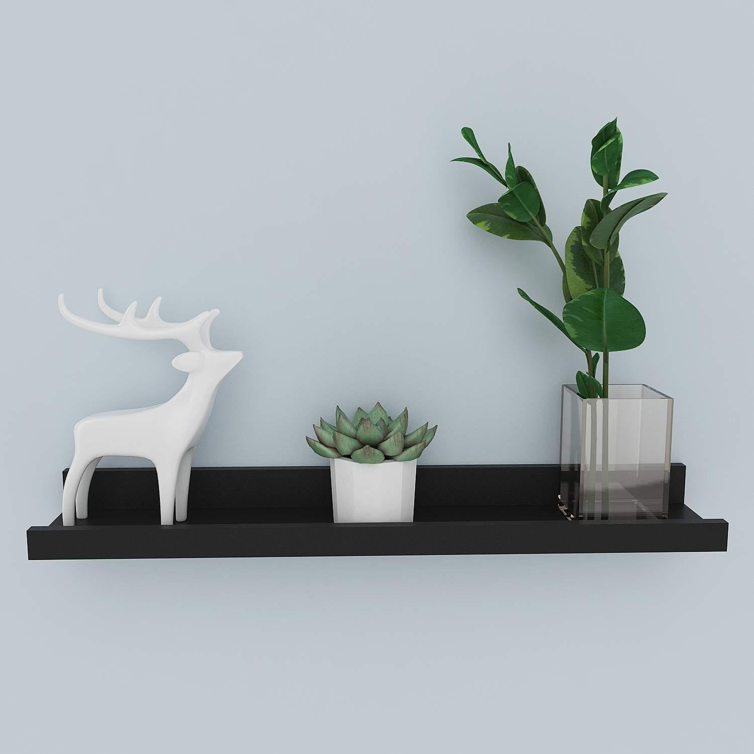 Hindom Modern Floating Shelf Picture Display Nursery Ledge Wall Mounted Floating Ledge Shelf for Photo Picture Frames Book, Floating Wall Photo Ledge Shelves, Black (US STOCK)