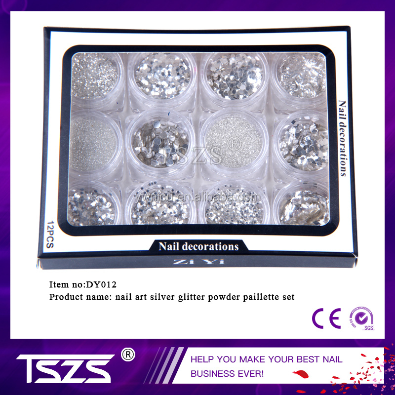wholesale price shiny silver Round Sequins Fine Glitter nail Powder paillatte decoration