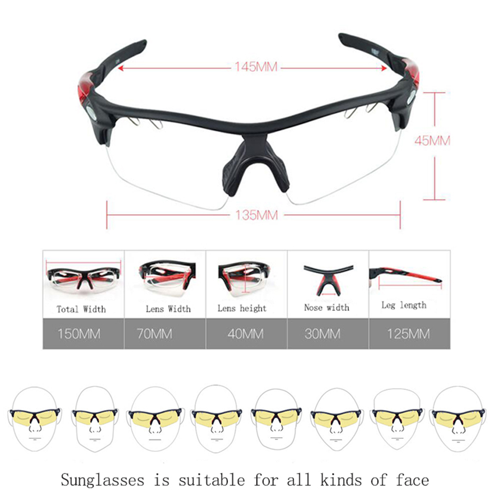 Biker Riding Cycling Glasses Sport Sunglasses pack with  photochromic interchangeable Lenses