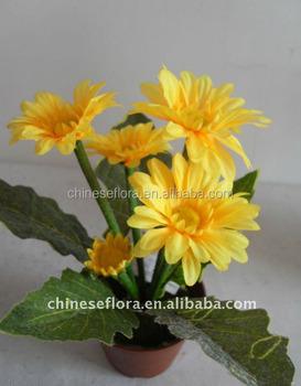 Mini artificial yellow gerbera flower pot buy yellow decorative mini artificial yellow gerbera flower pot mightylinksfo