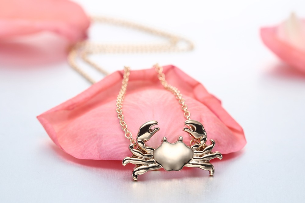 2017 Summer Necklace Boho Jewellry Girls Valentine's Day Gift Cute Silver Sea Animal Pendant Gold Crab Necklace