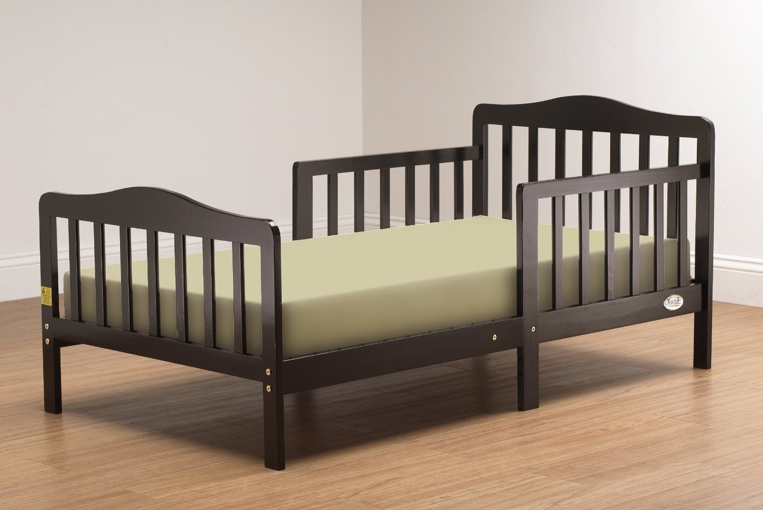 Children Bed Toddler Solid Wood with Rails Kid Size Bedding Frame Espresso Child Bed for Toddlers