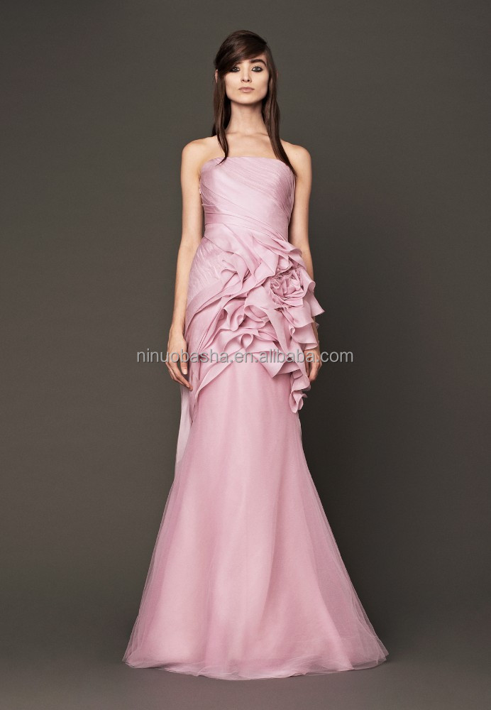 2015 Venta caliente Pink sirena strapless barrido flor tren gasa ...