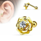 CZ Centered 14K Gold Plated Rose Flower Surgical Steel Barbell Ear Tragus