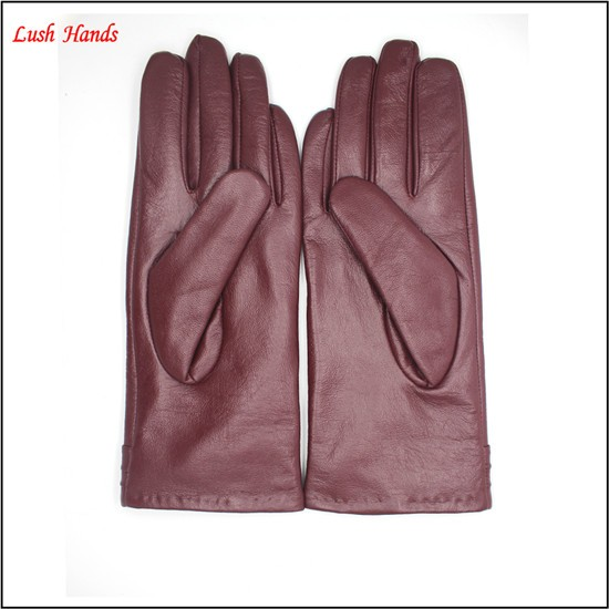 2016 women fashion goatskin touch-screen buttons goatskin hand leather gloves with folding wristband