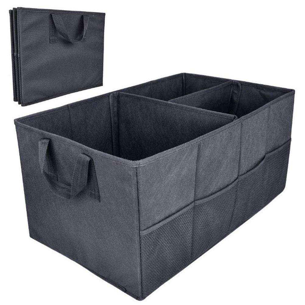 MQYH@ Car Boot Foldable Trunk Storage Organiser Tidy Storage Box Basket Shopping Bag Tool Organiser for Car, Suv, Van, and Truck Compartment Storage Bag - Black