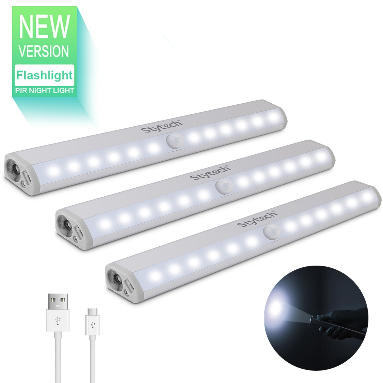 Motion Sensor Closet Light with Flashlight, 12 LED Wireless Night Light, Small Under Cabinet Lighting, Stick-on Anywhere, Modern USB Rechargeable Portable Closet Light