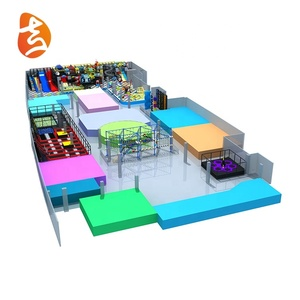 New design big trampoline equipment and rope course adventure set combined indoor playground soft play park for large area