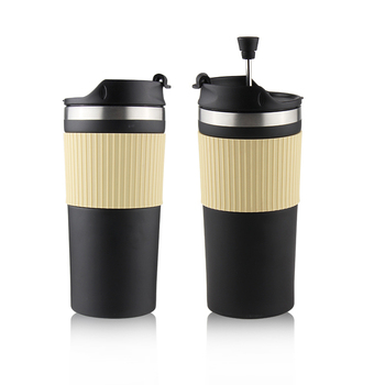 Travel Press Coffee and Tea Press, Stainless Steel Insulated travel coffee plunger 12oz
