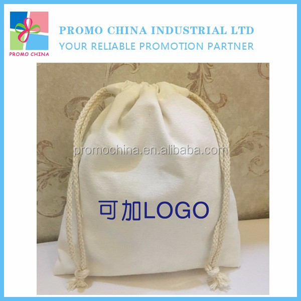 10oz Natural Canvas Custom Drawstring Cotton Bag For Promo Gifts