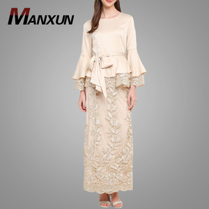 Fashion Design Baju Kurung With Lace For Women Muslim Bell Sleeves Peplum Baju Kebaya