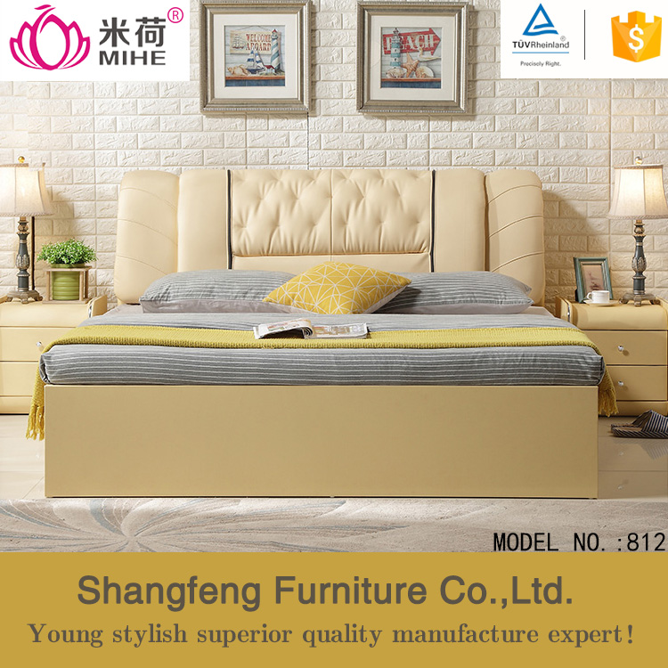 Modern wholesale bedroom king size leather bed with tv in footboard bed designs king size round leather bed