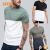 LuoQi New Fashion 100% Pima Cotton Short Sleeve Round Neck Custom Stitching Two Color Men T shirt