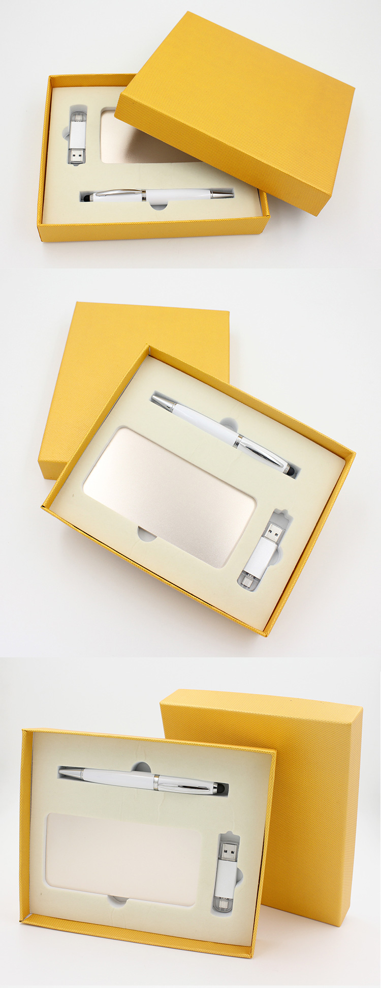 2018 hot selling Power bank Gift set 4000mah/8000mah powerbank with USB flash drive and pen