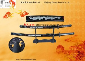stainless Japanese Samurai katana fire dragon two swords set