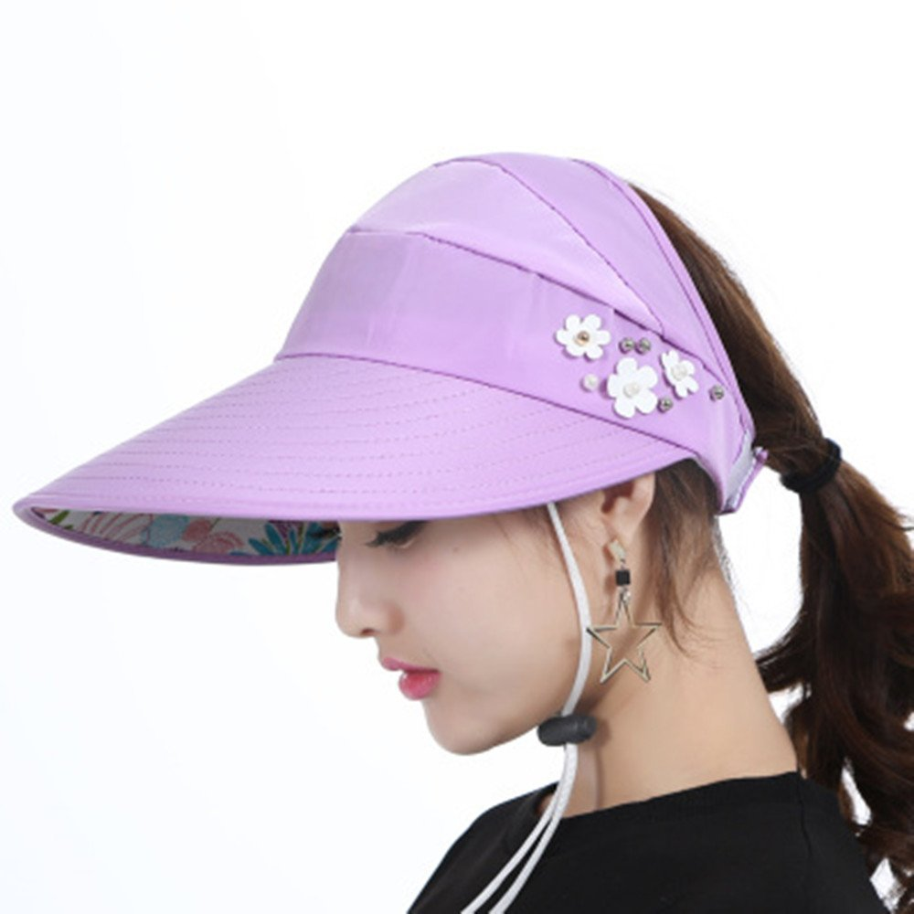Get Quotations · Anti-UV Sunhat Foldable Sun Hat Wide Brim Hat Summer  Sunproof Hat Empty Top Sunhat 7075f1bf379c