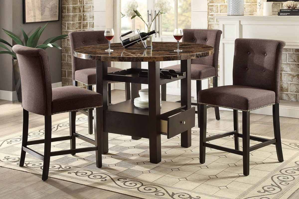 Marvelous Buy 5 Pc Counter Height Dining Set Storage Faux Marble Top Creativecarmelina Interior Chair Design Creativecarmelinacom
