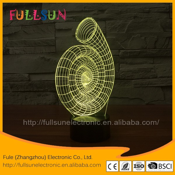 Dropship 3d illusion led night light with sea snail shape of color changing decorative lamp FS-2909