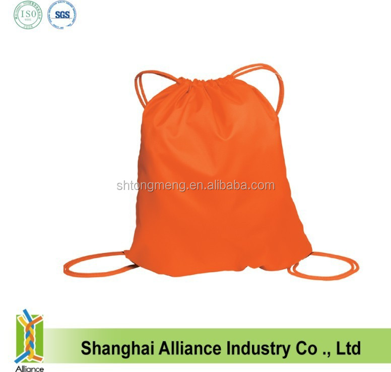Orange colour high quality fabric silk screen logo printed back bag /drawstring back bag