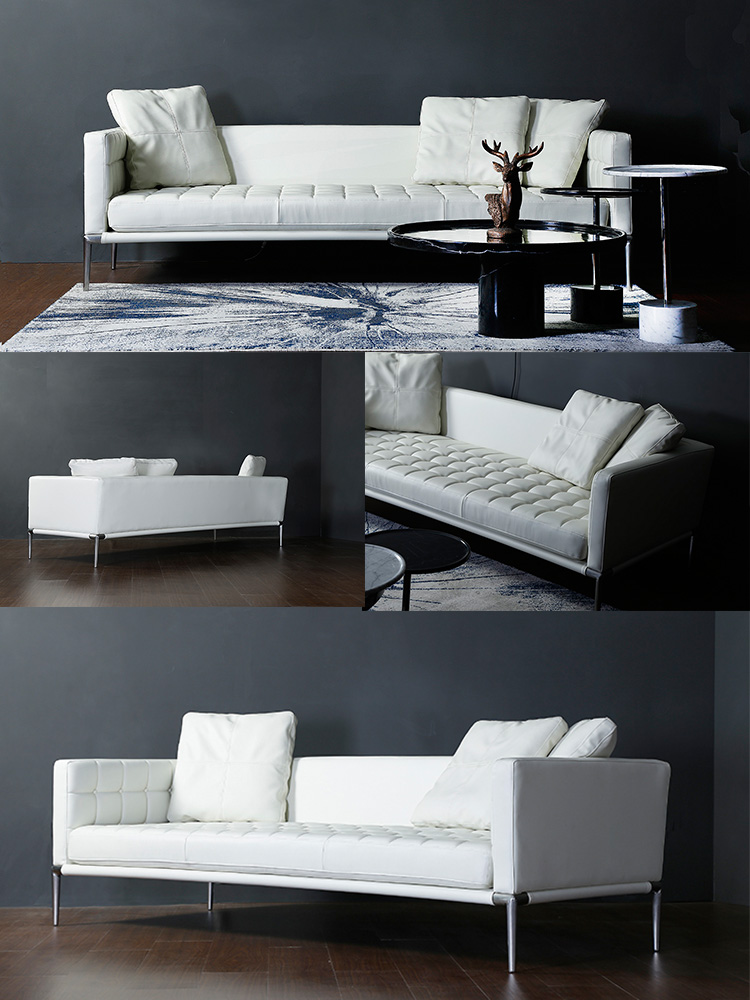 Hot Selling Living Room Modern White Genuine Leather