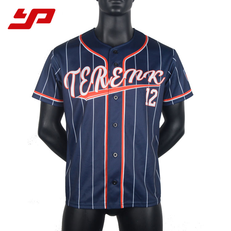 2018 custom sublimatie heren dri fit gestreepte honkbal jersey