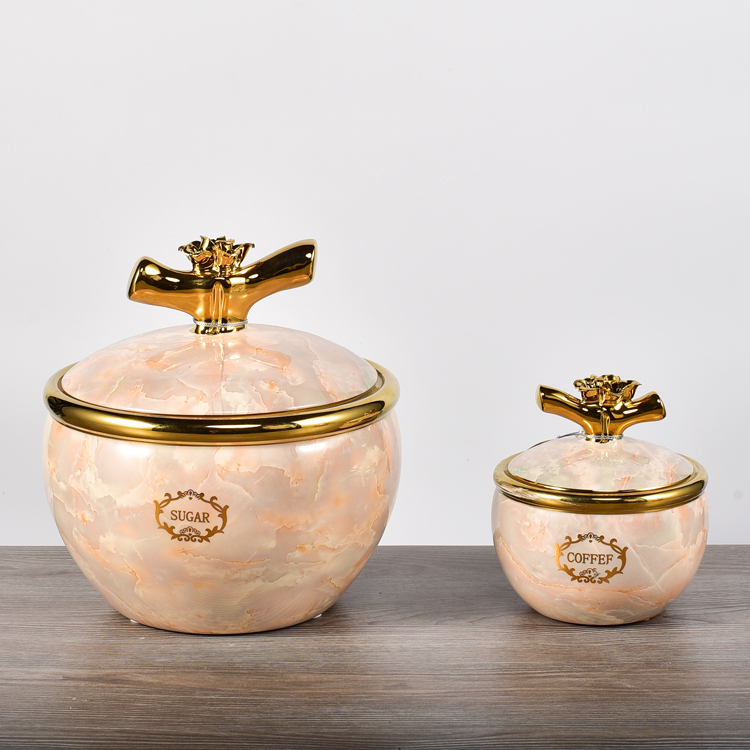 Advanced design gold plating marble surface home goods ceramic airtight food storage container with lid