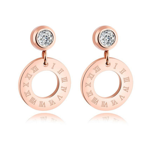 Latest Hot Sell Stainless Steel Cubic Zirconia Earrings Jewelry Women Roman Number Geometric Hollow Round Circle Stud Earrings