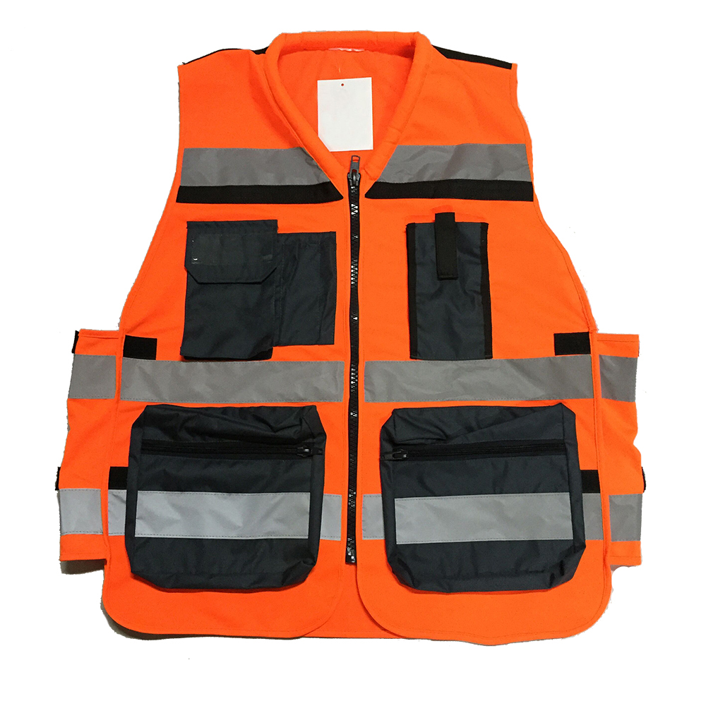 High Visibility Reflective Safety Fluorescent <strong>Orange</strong> Multi Pockets <strong>Vest</strong>