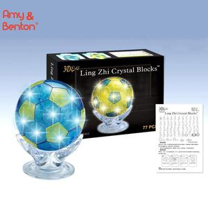 3D Shining Crystal Football Shape Puzzle With LED Light