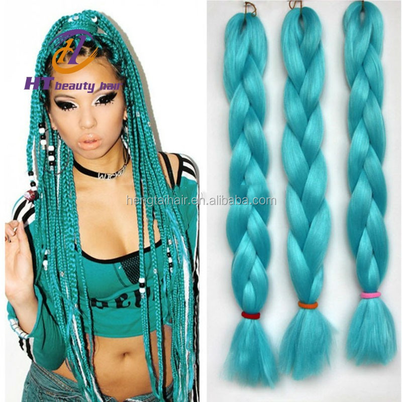 22inch Expression Hair Braids Green Synthetic Crochet Braids Hair Heat ...