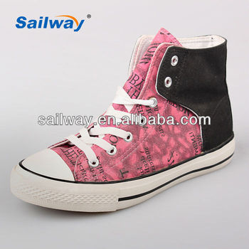 2014 fashion high top casual shoes for womens velco lace