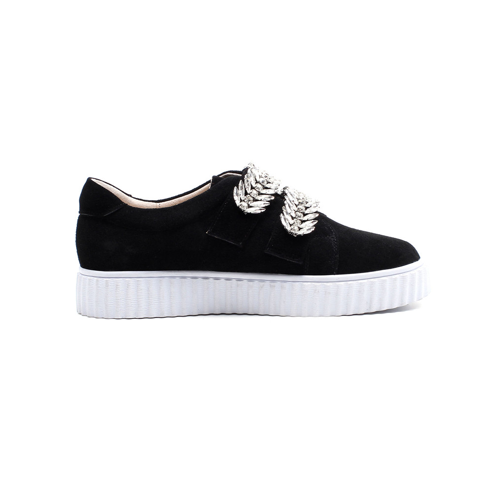 women cow new round fashion toe spring flats autumn suede crystal Asumer shoes g40SqwTT