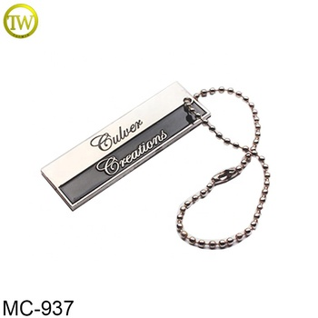 Bag parts ball chain jeans metal hang tags enamel logo name label for luggage