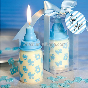 Blue Baby Bottle Candle Shower Favors