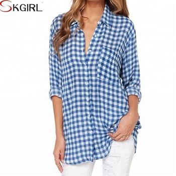 4b853efe8e0 Herfst seizoen lage- hoge knoopsluiting lange mouw blouse, engeland stijl  vrouwen herfst vriendje plaid