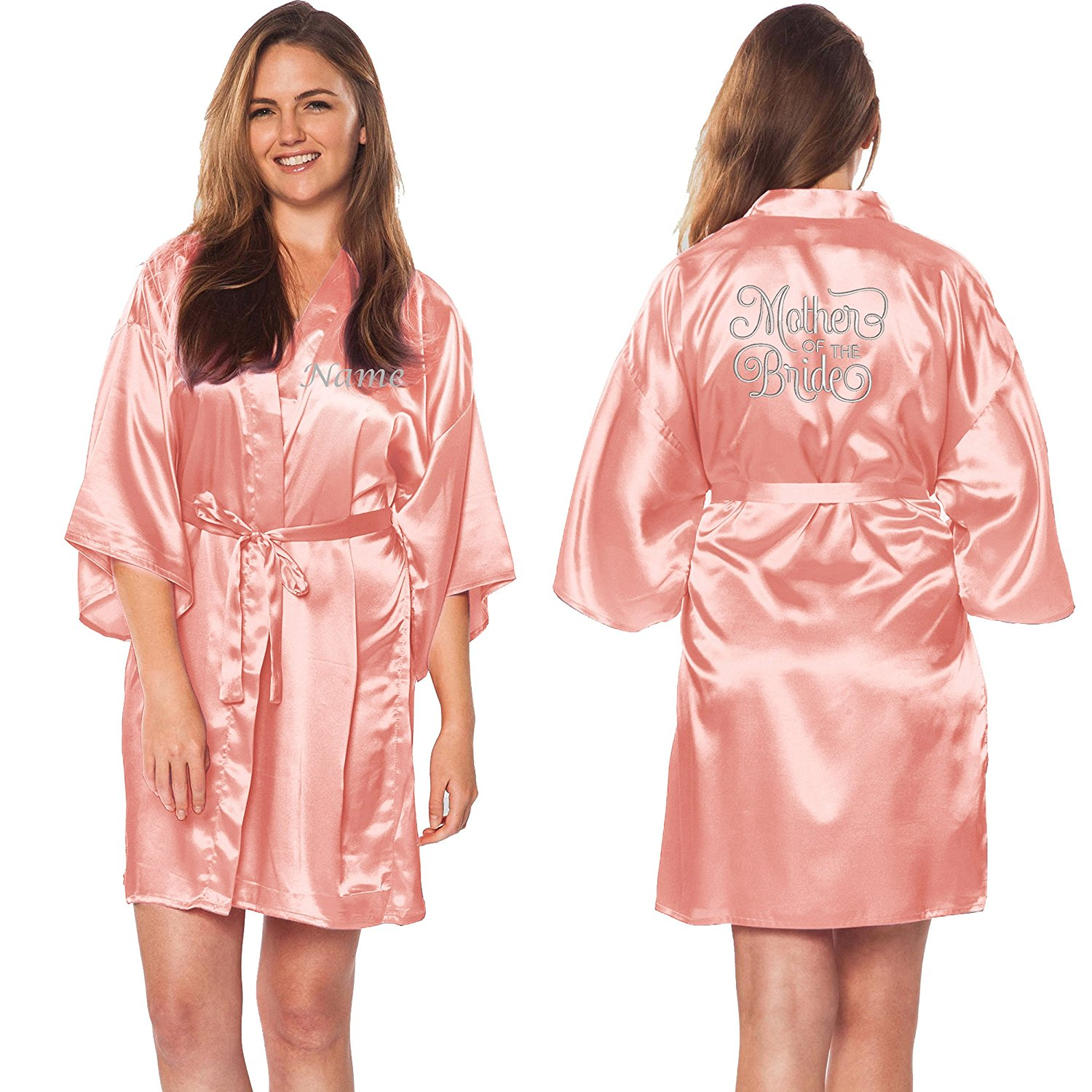 Custom Apparel R Us Mother of The Bride Silver Embroidered Customize Name Satin Robes Wedding Party
