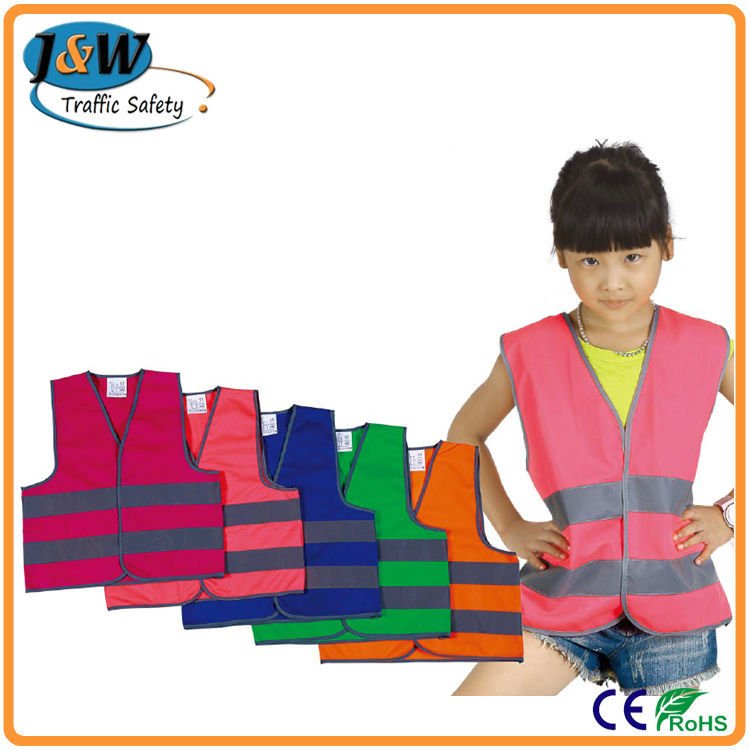 100% Polyester Cheap Pink Reflective Kids Safety Jacket from Factory