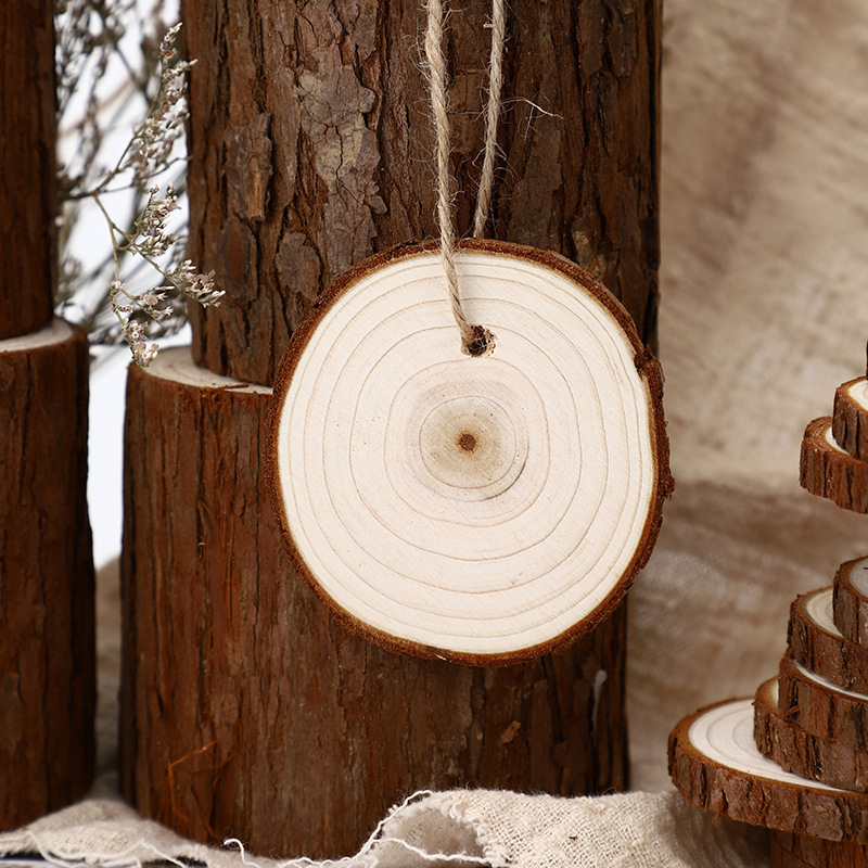 10-11CM Wooden Log Slice Natural Wood Slices Wooden Circles for DIY Crafts Wedding Decorations Christmas Ornaments
