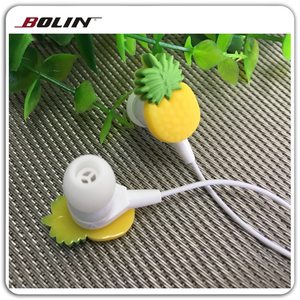 Shenzhen factory direct provide OEM earphone For Kids, wired PVC Fruit Shape Cartoon Earbud for Promotional as gifts