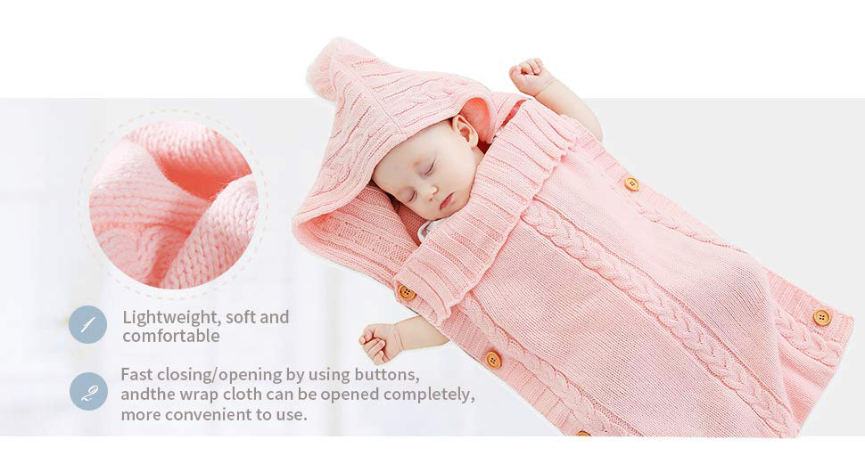 Minky Toddler Knit  Swaddle Sleeping Bag Sleep Sack Stroller Wrap  Newborn Baby Wrap Cable Knitted Milestone Swaddle Blanket