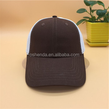 7fde667af9372 Distressed Unisex Character Style 6 Panel Coffee Color Mesh Trucker ...