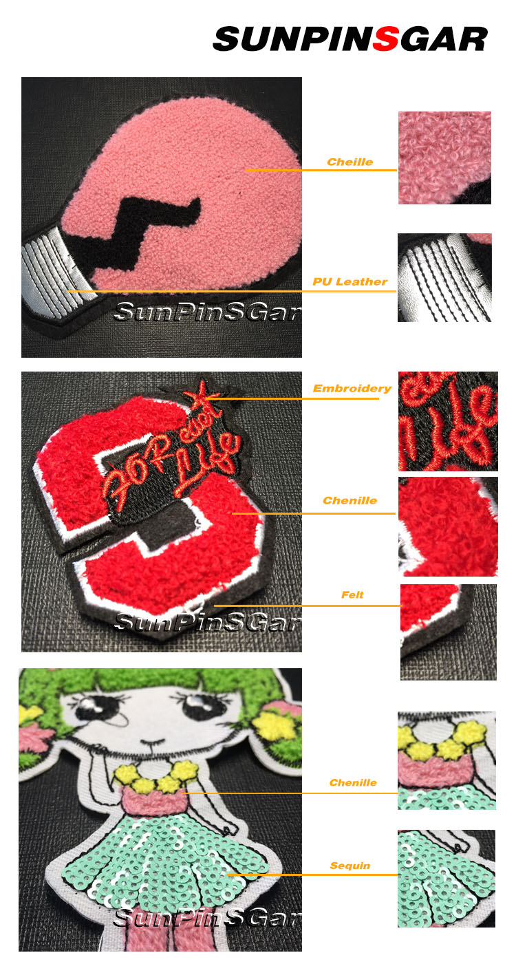 High quality custom made iron on embroidered chenille patch for garment