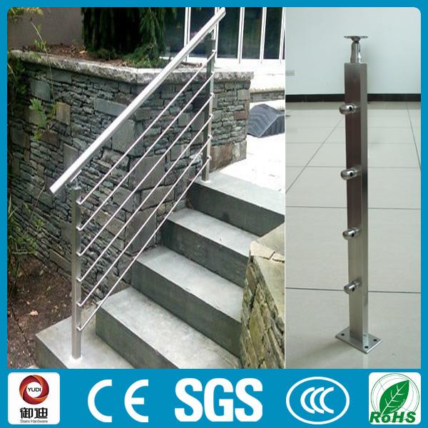 moderno acero inoxidable sqaure barandillas para escaleras exteriores